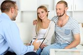 image of psychologist  - Young happy couple after therapy session with family psychologist - JPG