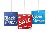 stock photo of friday  - Black Friday and cyber Monday shopping sale concept with sign and percent symbol on hanged tags isolated on white background - JPG