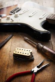 stock photo of coil  - Electric guitar repair - JPG