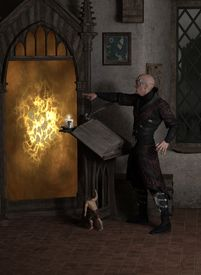 stock photo of sorcerer  - Fantasy illustration of a sorcerer casting a spell to open a magic portal in his laboratory with help from a tiny homunculus - JPG