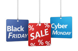 image of friday  - Black Friday and cyber Monday shopping sale concept with sign and percent symbol on hanged tags isolated on white background - JPG