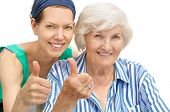 foto of granddaughters  - Happy senior woman portrait together with granddaughter - JPG