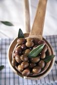 image of ladle  - Presentation of a small group of black olives on wooden ladle  - JPG