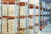 stock photo of warehouse  - interior of modern warehouse - JPG