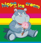 picture of hippopotamus  - vector illustration of a hippopotamus with ice cream - JPG