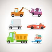 stock photo of wreckers  - Vector Flat Cartoon Vehicles on white background - JPG