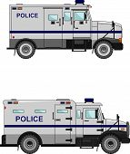 picture of armored car  - Two variants of the police car in a flat style - JPG