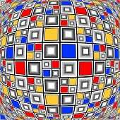 picture of parallelogram  - Design warped colorful checked mosaic pattern - JPG