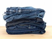 picture of denim jeans  - A close up shot of denim jeans