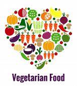 foto of vegetable food fruit  - Vegetarian food heart shape - JPG