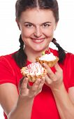 stock photo of fancy cakes  - Crazy greedy girl with cakes isolated on white background - JPG