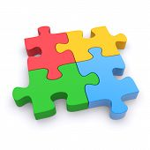 pic of jigsaw  - Jigsaw puzzle on a white background - JPG
