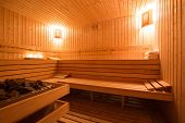 picture of sauna  - Image of Interior of a wooden finnish sauna - JPG