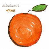 foto of freehand drawing  - Abstract orange in mixed style with sketch and watercolor - JPG