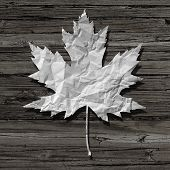 picture of recycled paper  - Paper leaf on an old rustic wood background as a symbol of nature and recycling or a pulp and paper industry icon - JPG