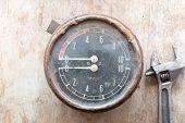 stock photo of manometer  - Metal mechanical device - JPG