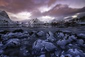 pic of lofoten  - Colorful sunset over Rweine Lofoten islands Norway - JPG