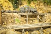 image of locomotive  - vintage model steam locomotive on a downhill gradient  - JPG