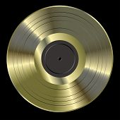 foto of lp  - vector realistic illustration of the blank golden LP - JPG