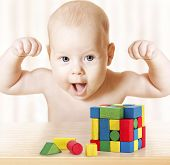 foto of child development  - Smart Baby Playing Toy Blocks Strong Healthy Child Laughing Hand Raise Up Little Kids Success Early Development and Activity Concept Jigsaw Puzzle Game - JPG