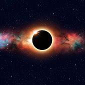 foto of imaginary  - imaginary solar eclipse deep space multicolor background - JPG