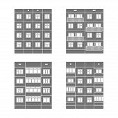 picture of cell block  - Set of vector facades of panel houses - JPG