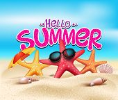 picture of summer beach  - Hello Summer in Beach Seashore with Realistic Objects - JPG