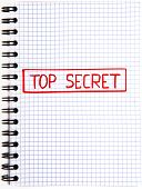 pic of top-secret  - Notepad with a Top Secret mark isolated on white background - JPG