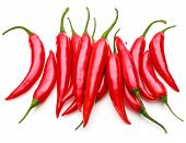 picture of chili peppers  - red chili or chilli cayenne pepper isolated on white  background cutout - JPG