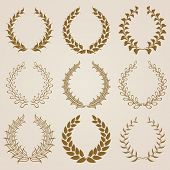 picture of laurel  - Set of vector golden laurel wreaths - JPG