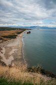 stock photo of shipwreck  - Image of shipwreck near sandy beach Peloponnese Greece - JPG