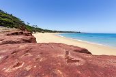 picture of deserted island  - Red Rocks Beach on sunny day Phillip Island Australia - JPG