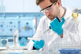 stock photo of beaker  - scientist working at the laboratory - JPG