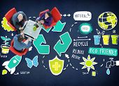 picture of reduce  - Recycle Reduce Reuse Eco Friendly Natural Saving Go Green Concept - JPG