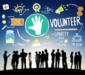 stock photo of charity relief work  - Volunteer Charity Help Sharing Giving Donate Assisting Concept - JPG