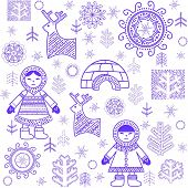 foto of eskimos  - Winter abstract wallpaper with Eskimo and igloo - JPG