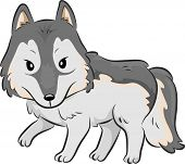 foto of stroll  - Cutesy Illustration of a Wolf Strolling Around - JPG