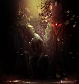 pic of possession  - Possessed man sitting on a chair with tall crimson and golden demons behind him illustration - JPG