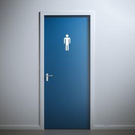 image of gender  - blue toilet door for male  gender - JPG