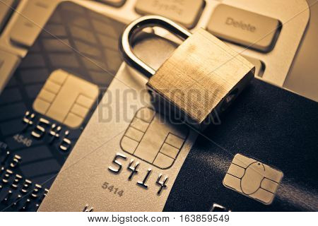 poster of Security lock on credit cards / Credit cards data encryption for security concept