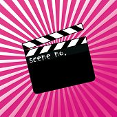 stock photo of clapper board  - Open clapboard on red - JPG
