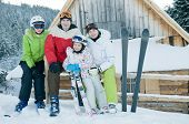 image of family ski vacation  - Sporty family on winter vacation - JPG
