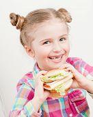 Постер, плакат: Маленькая девочка с большой бутерброд