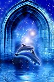 two dolphins in mystical dreamy land with blue gate and water surface