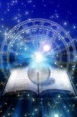 foto of fortune-teller  - astrological book with crystal ball over zodiac and starry space - JPG