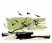 Постер, плакат: Силуэты деревьев и летящие птицы на фоне гранж