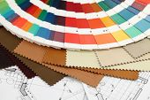 palette of colors designs for interior works,  leatherettes & architectural drawings