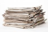 stack of newspapers isolated of white background