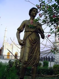 picture of muharram  - A roman style metal statue at the gate of historic chota imambada of lucknow  - JPG