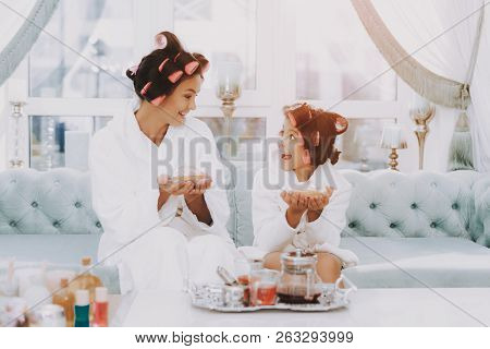 poster of White Coats. Little Lady With Curlers. Mother And Daughter. Consept Beauty Salon. Beautiful Little L